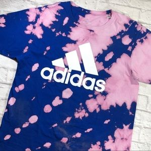 Adidas Custom Blue Pink Tie-Dye Short Sleeve Shirt